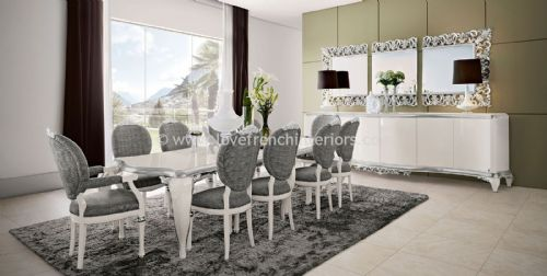 Capri Dining Set in High Gloss and Silver Leaf
